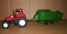 1/32 Scale Plastic Farm Tractor Model With Hay Baler - Harvesting Baling Machine
