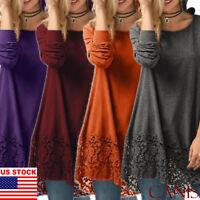 Fall Winter Casual Women Sweater Dress Short Loose Top Long Sleeve Plus Size US