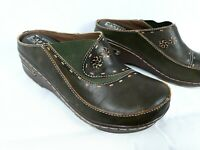 Spring Step L'Artiste Women's Chino Leather Mule Clogs Size 6.5 37 Brown Green