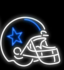 "Dallas Cowboys Helmet 17""x14"" Neon Sign Lamp Light Glass Bar With Dimmer"