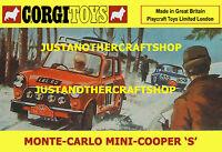 Corgi Toys 339 Mini Cooper S Monte Carlo 1967 Poster Sign Leaflet Advert A4 Size