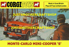 CORGI TOYS 339 Mini Cooper S Monte Carlo 1967 Poster Sign VOLANTINO Pubblicità Taglia a3