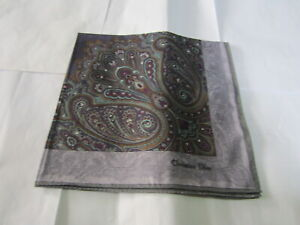 "USED GRAY & PURPLE PAISLEY PATTERN COTTON 18"" HANDKERCHIEF POCKET SQUARE FOR MEN"