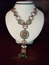 2028 Enamel Flower Necklace Bead Green Orange Pendant Designer Signed