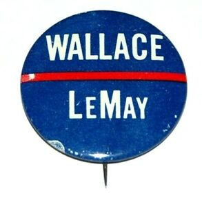 """'68 GEORGE WALLACE 1.5"""" CURTIS LEMAY campaign pinback button political president"""