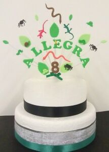 Reptile, bug adventure birthday cake topper/ decoration  personalised name,age