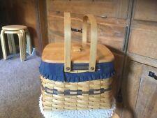 Longaberger 1998 Collectors Edition Harbor Basket. Cloth & Plastic Liner, Lid.