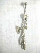 New Usa Cast Pewter Tomahawk w Attached Solid Feathers Clear Belly Button Ring
