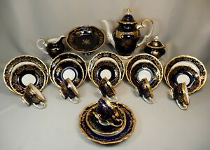 Weimar Katharina Kaffeeservice 6 P. Kobalt Gold Vollbarock schönste Dekore 22tg