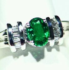 1.14CT 14K Gold Natural Emerald White Cut Diamond Vintage Halo Engagement Ring