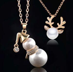 CHRISTMAS PEARLS Reindeer & Snowman GORGEOUS Chain Necklace Pendant Santa Antler