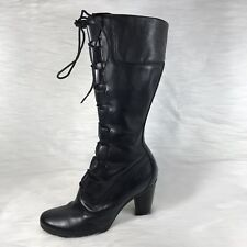 Timberland Womens Lace Up Boots Black Leather Knee High Size 6 M