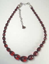 Beautiful faceted cherry amber bead necklace