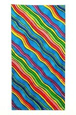 POCKET SQUARE Flat Top Blue & Multi Color Diagonal Wiggle Stripes-folded & Sewn