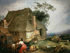 Abraham Bloemaert A cottage with peasants milking goats Giclee Canvas Print