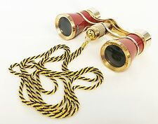 36683 BARSKA OPERA GLASSES 3x25 BRASS BINOCULARS WITH NECKLACE IN LEATHER POUCH