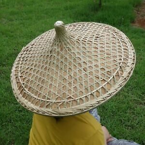 """Rice Hat Chinese Cantonese Traditional Bamboo Hat Dia. 20.5"""""""