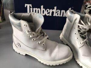 TIMBERLAND BOOTS WHITE WOMENS UK 9 CUSTOM ? Limited Edition ? TIMBERLANDS Cheap