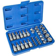 Juego 34pz llaves de vasos punta torx interior y exterior maletín herramientas