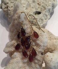 *NEW* 14k solid yellow gold Waterfall Garnet briolette earrings