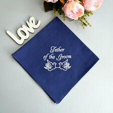 Father in Law Wedding Gift from Bride Embroidered Navy Cotton Handkerchief
