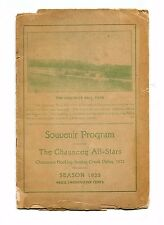 RARE & UNUSUAL 1923 Baseball Program CHAUNCEY ALL STARS OH semi-pro team photos