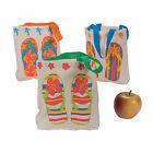 Mini Flip Flop Canvas Tote Bags - Apparel Accessories - 12 Pieces