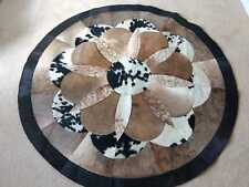 Cowhide Patchwork Rug Round 5x5 ft Floral Design Tricolor Area Rug Center Piece
