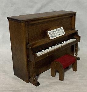 Wood Piano & Bench Mini Miniature Dollhouse Doll Furniture
