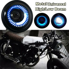 7W 600LM 6500K Motorcycle Scooter Blue Angel Eye Round LED Headlight Hi/Lo Beams