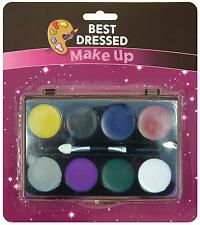 Halloween Face Paint Palette Set Red White Black Blue Fancy Dress Zombie Make Up