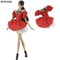 Red Polka Gown Short Dresses Outfits For Barbie Dollhouse 1/6 Doll Accessories