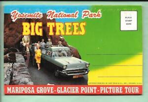 YOSEMITE POSTCARD FOLDER. YOSEMITE. BIG TREES. GLACIER POINT. 1972.