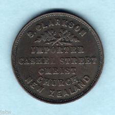 New Zealand - Token..  Clarkson - 1875 1d...  Christchurch..  VF/aVF