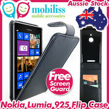Nokia LUMIA 925 PU Leather Flip Case Cover Wallet Card Holder Screen Protector
