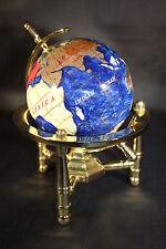 Genuine Multi-Gemstone Desktop Globe Gold Tone Base Navy Blue Globe Free S & H