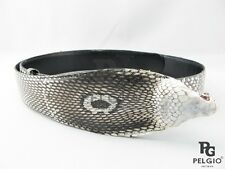 "PELGIO Genuine Cobra Snake Skin Leather Dress Belt 46"" Long Natural Free Ship"