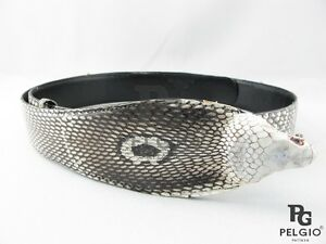 "PELGIO Genuine Cobra Snake Skin Leather Dress Belt 46"" Long Natural Free Ship"