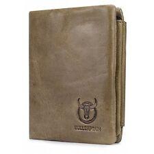 BULLCAPTAIN Men Genuine Leather Trifold Wallet - KHAKI