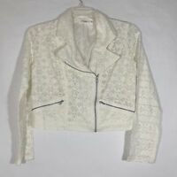Cato Ivory Lace Assymetrical Zip Front Crop Jacket Womens Lined Pockets Size M