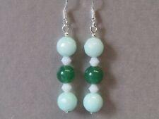 Mint Green, Green Jade & White Crystal Traffic Light Sterling Silver Earrings