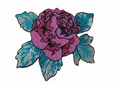 """#5076 2-3/8"""" Pink Peony Flower Embroidery Iron On Appliqué Patch"""