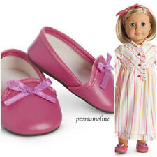 American Girl Kit's PINK SLIPPERS from retired STRIPED  NIGHTGOWN set~NEW