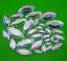 Flat faceted Navette Clear Ab Acrylic Crystal Diamante Rhinestone applique sew