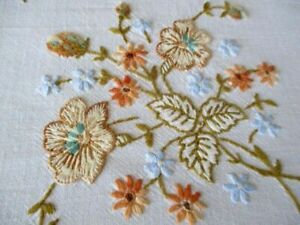 Vintage Hand embroidered tablecloth-Floral design with crochet edge