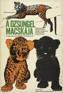 Vtg Orig Movie Poster A DZSUNGEL MACSKÁJA / JUNGLE CAT Sándor Margit 1967 USA