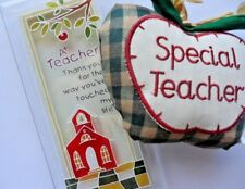 Teacher gifts. Freestanding glass plaque with lovely sentiment & fabric heart