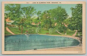 Roanoke Virginia~Lake In Elmwood Park~Vintage Postcard