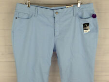 St. John's Bay Womens Plus Size 24W Stretch Solid Blue Slimming Capri Jeans NWT