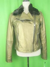 LAUREN RALPH LAUREN Burnished Gold Leather NEW Motorcycle Jacket 10